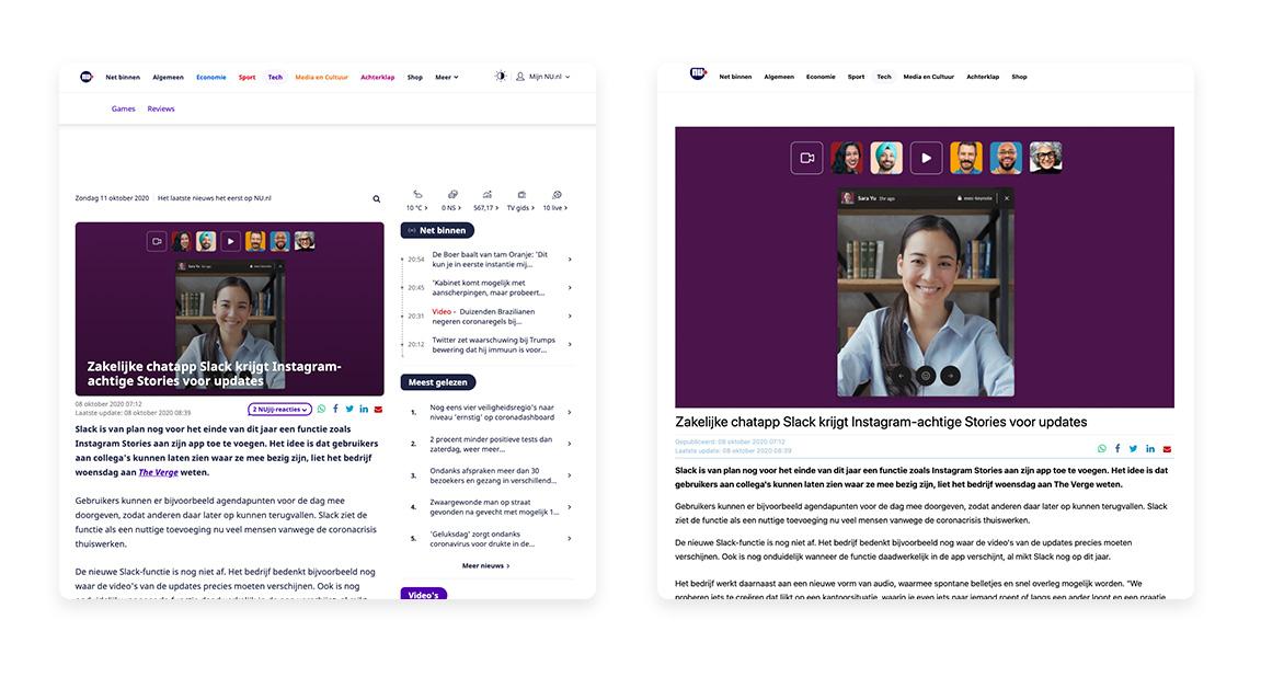 Een voorbeeld van een Nu.nl artikel met aan de linkerkant de niet AMP versie en aan de rechterkant de AMP versie
