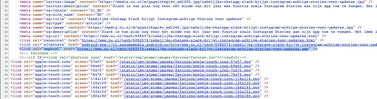 amphtml regel in de HTML broncode van een pagina