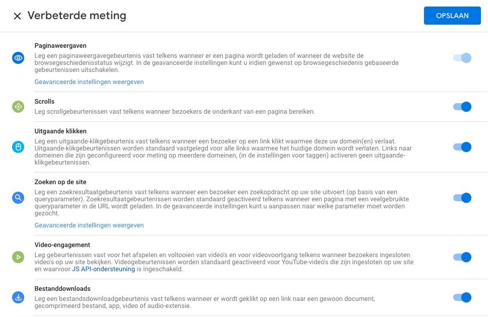 Bij het kiezen voor web selecteert Analytics automatisch onder andere pagina weergaven om te meten in GA4